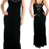 SeXy Women's Black Vintage sty Gothic Pin up Velvet Crochet Back Prom Maxi Dress