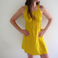 Vintage Yellow Mini Dress Sundress Summer Prairie Polka Dot Hearts Beach Boho Cottage Chic
