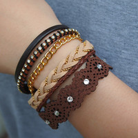 Brown Color Leather Bracelets Pack