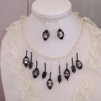 Statement Necklace Black Clear Beaded Necklace Earring Set
