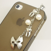 1PC Retro Alloy Plated Silver Mask Teeth Earphone Charm Cap Anti Dust Plug for iPhone 5, iPhone 4, Samsung S3
