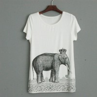 Sketch Elephant Printing Long T-shirt