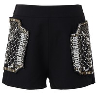 Diamond Pearly Pockets Black Shorts