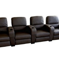 Wholesale Interiors Ht638-brown 4 Seat Brown Leather Theatre Seating