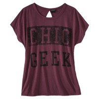 Juniors Chic Geek Keyhole Back Graphic Tee - Red