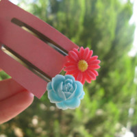 set of 2 bobby pins,flower bobby pins