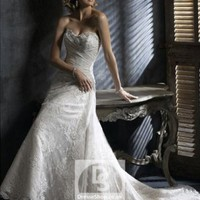 A-line Sweetheart Lace Lace Chapel Train Wedding Dress at Dresseshop