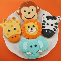 Animal Cookies, Monkey, Elephant, Giraffe, Lion, Zebra (24 favors, individually bagged and bowed)