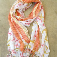 Come Sail Away Coral Anchor Scarf [2257] - $9.00 : Vintage Inspired Clothing & Affordable Summer Dresses, deloom | Modern. Vintage. Crafted.
