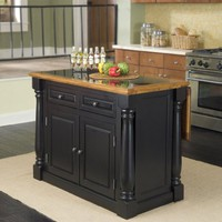 Monarch Kitchen Island with Granite insert Top by Home Styles - Black and a distressed Oaked (5009-94)