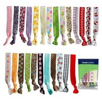 Bundle Monster Assorted Ponytail Decorative Color Print Design 1.5cm Girl Hair Band Ties Mixed Lot:Amazon:Clothing