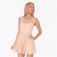 Sequin Hearts Juniors Lace Illusion Dress with Open Back at Von Maur