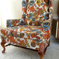 Vintage Anthropologie style Wing Back Chair with Wooden Frame