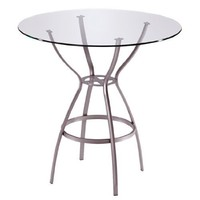 Trica Rome Dining Height Table with Glass Top, 28-1/2 inch H, 42 inch Dia. Glass Top, Meteor