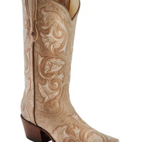 Corral Bone Floral Embroidered Cowgirl Boots - Snip Toe - Sheplers