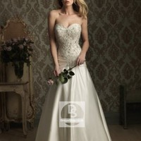 A-Line Sweetheart Beading Satin Chapel Train Wedding Dress at Dresseshop
