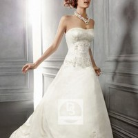 A-Line Strapless Embroidery Beading Silk Chapel Train Wedding Dress at Dresseshop