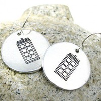 Tardis Hand Stamped Doctor Who Earrings | foxwise - Jewelry on ArtFire