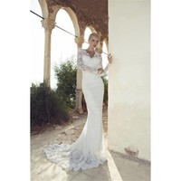 Long Lace Sleeves Mermaid Wedding Dress