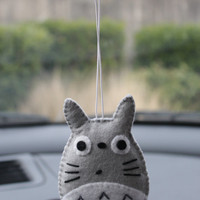 $10.00 Totoro rearview mirror plush by madebygwen on Etsy