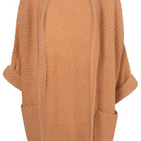 Knitted Apricot Slouchy Roll Sleeve Cardigan - Knitwear  - Clothing  - Topshop
