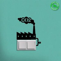 Wall sticker CO2 Factory Reminder wall art graphic decals original stickers idea by Hu2 Design