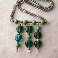 Green Glass Heart Necklace by PiggleAndPop