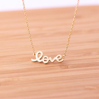 love necklace in gold by bythecoco on Etsy
