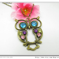 10OFF adjustable Cute Owl Necklace Vintage antique by sevenvsxiao
