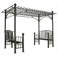 Double Bench Arbors with Pergola Style Tops at Brookstone—Buy Now!