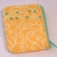 Coin Purse Yellow Pink Green Cotton One of a Kind | kathisewnsew - Bags & Purses on ArtFire