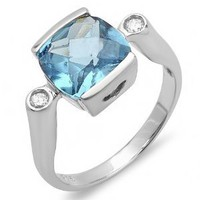 1.35 CT Three Stone Sterling Silver Ladies Cushion &amp; Round Blue Topaz Cubic Zirconia CZ Classic Engagement Ring 0.45 inch (Available in size 6, 7, 8) size 6