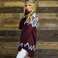 Glass Mountain Burgundy Oversized Sweater