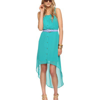 Buttoned High-Low Dress in Turquoise
