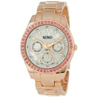 XOXO Women&#x27;s XO5298A Rhinestone Accent Rose Gold Bracelet Watch - designer shoes, handbags, jewelry, watches, and fashion accessories | endless.com