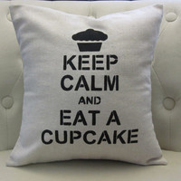 Clearance Sale 14x14 'Keep Calm and Eat A by blackrufflebrigade
