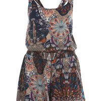 Feather Print Playsuit - Rompers  Jumpsuits  - Apparel  - Miss Selfridge US