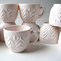 Vintage 1958 Shell Pink Milk Glass Punch Cups by Jeannette Glass Co. | ColorMeVintage - Kitchen & Serving on ArtFire