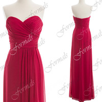 Strapless Sweetheart Long Chiffon Hot Pink Simple Prom Dresses, Wedding party Dresses, Bridesmaid Dresses