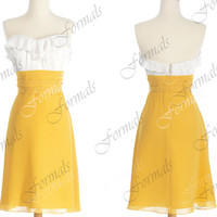 Strapless Sweetheart Short Chiffon White and Yellow Bridesmaid Dresses, Short Prom Dresses, Wedding party Dresses, Cocktail Dresses