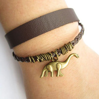 antique bronze little dinosaur Braceletdoubledeck by lightenme