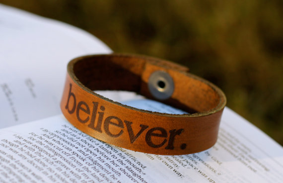 Leather Believer Bracelet Christian Theme by believerthreads