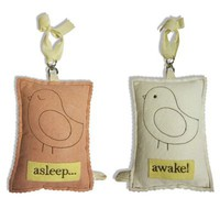 doorknob sign: asleep~awake (bird), unique art for kids rooms : throw pillows : valentina ramos