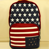 Unique USA Flag Style Rivet Canvas Backpack