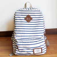 Unique Striped Leisure Canvas Backpack-Blue