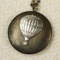 Long Hot Air Balloon Silver Locket Necklace Vintage by FreshyFig