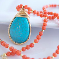 Turquoise and Coral Necklace Turquoise Pendant by Jewels2Luv