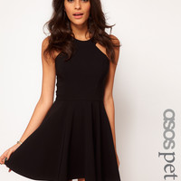 ASOS Petite | ASOS PETITE Exclusive Skater Dress With Popper Straps And Cut Away Detail at ASOS