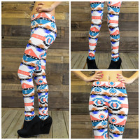 Geo Warrior High Waisted Tribal Print Leggings