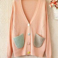 Cute V-NECK Fashion  SWEATER KNIT CARDIGAN